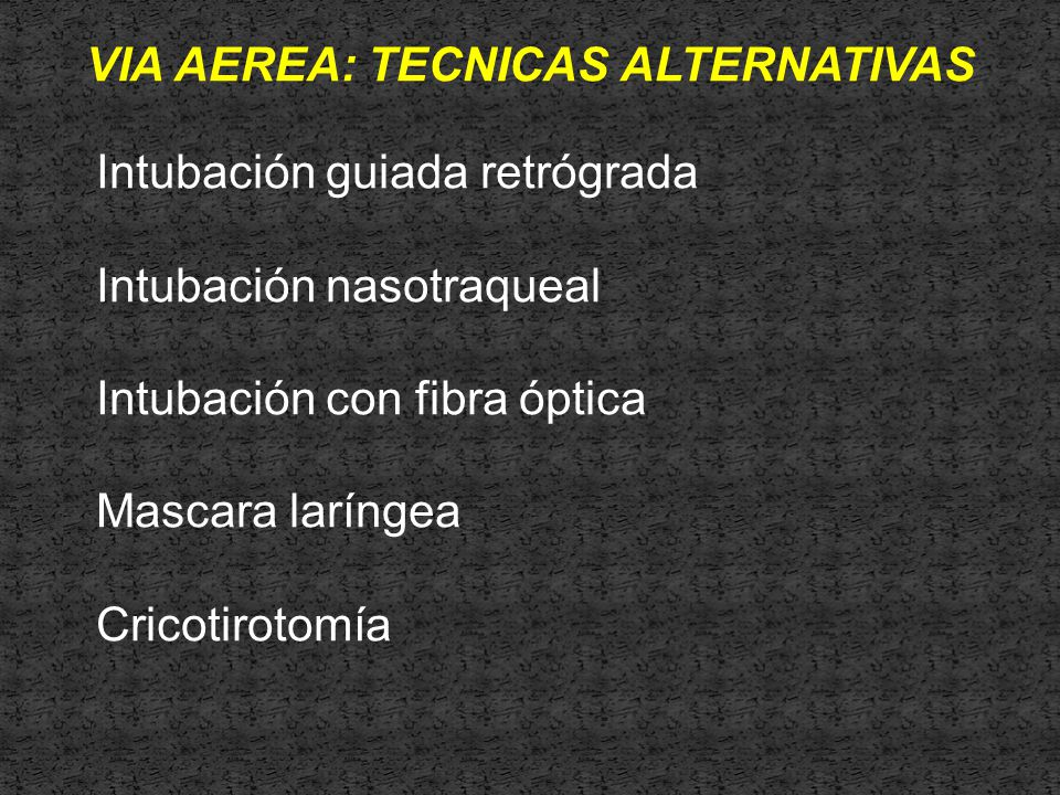 VIA AEREA: TECNICAS ALTERNATIVAS