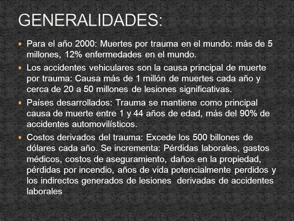 GENERALIDADES: Para el año 2000: Muertes por trauma en el mundo: más de 5 millones, 12% enfermedades en el mundo.