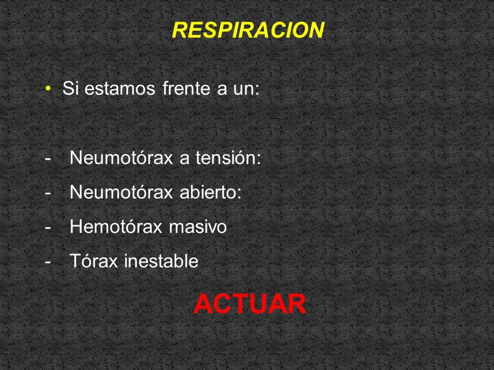 ACTUAR RESPIRACION Si estamos frente a un: Neumotórax a tensión: