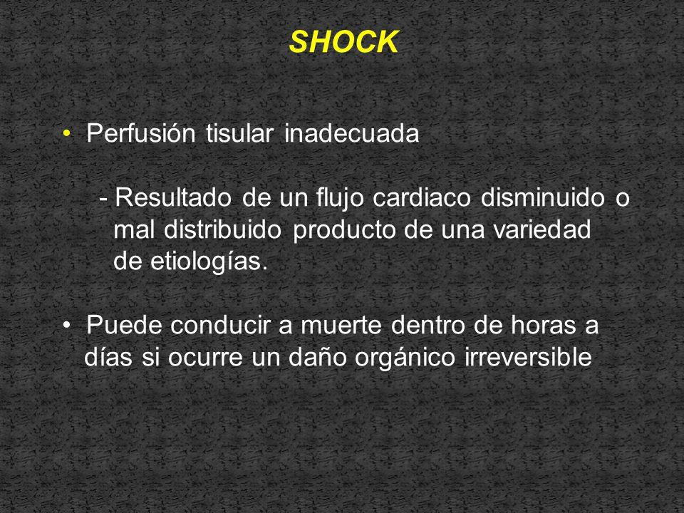SHOCK Perfusión tisular inadecuada