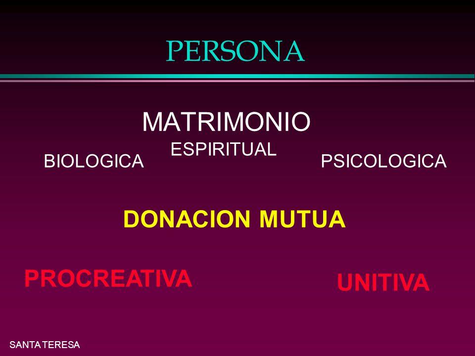 PERSONA DONACION MUTUA PROCREATIVA UNITIVA MATRIMONIO ESPIRITUAL