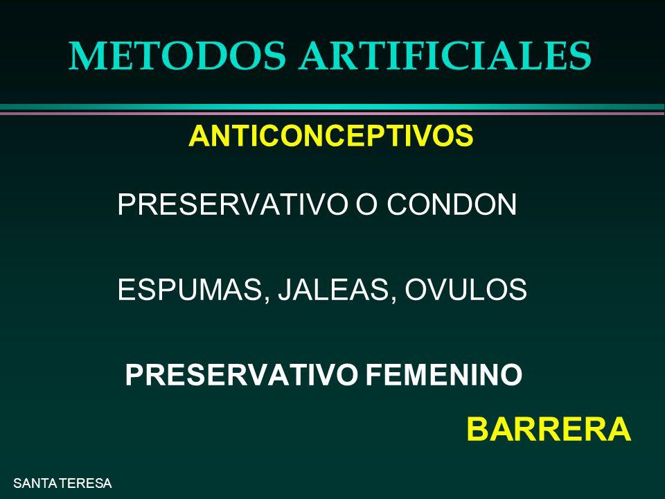 METODOS ARTIFICIALES BARRERA ANTICONCEPTIVOS PRESERVATIVO O CONDON