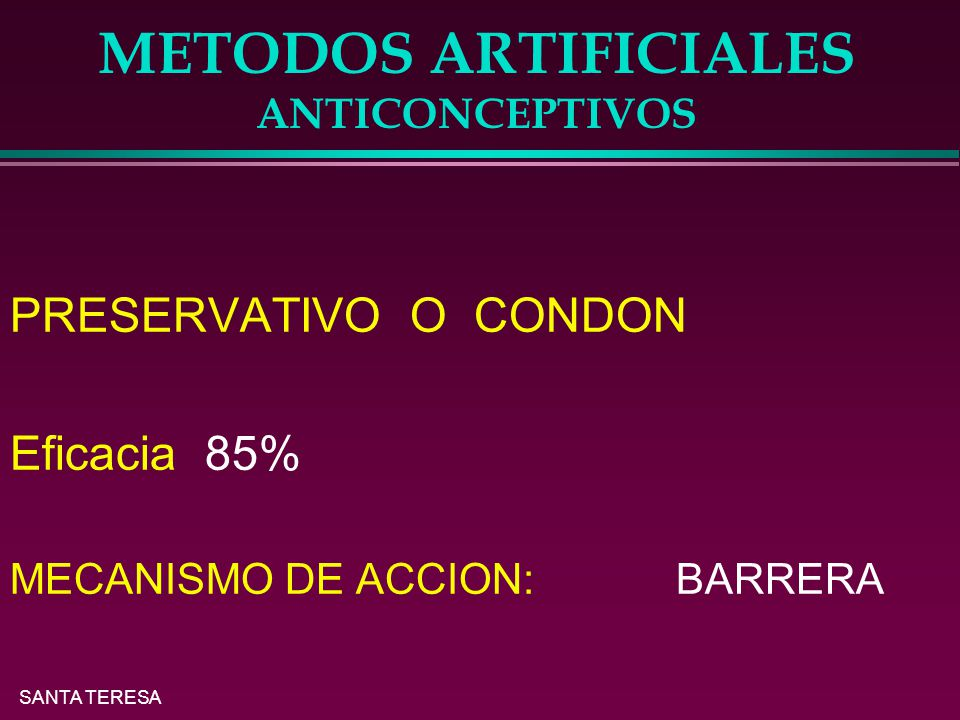 METODOS ARTIFICIALES ANTICONCEPTIVOS