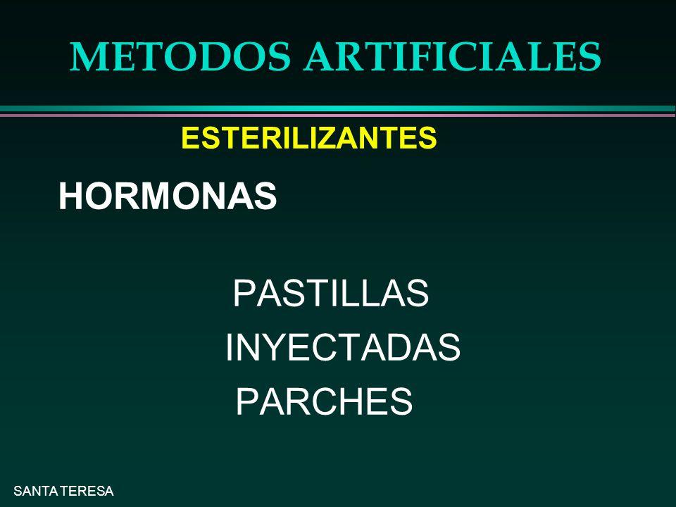 METODOS ARTIFICIALES HORMONAS INYECTADAS PARCHES ESTERILIZANTES