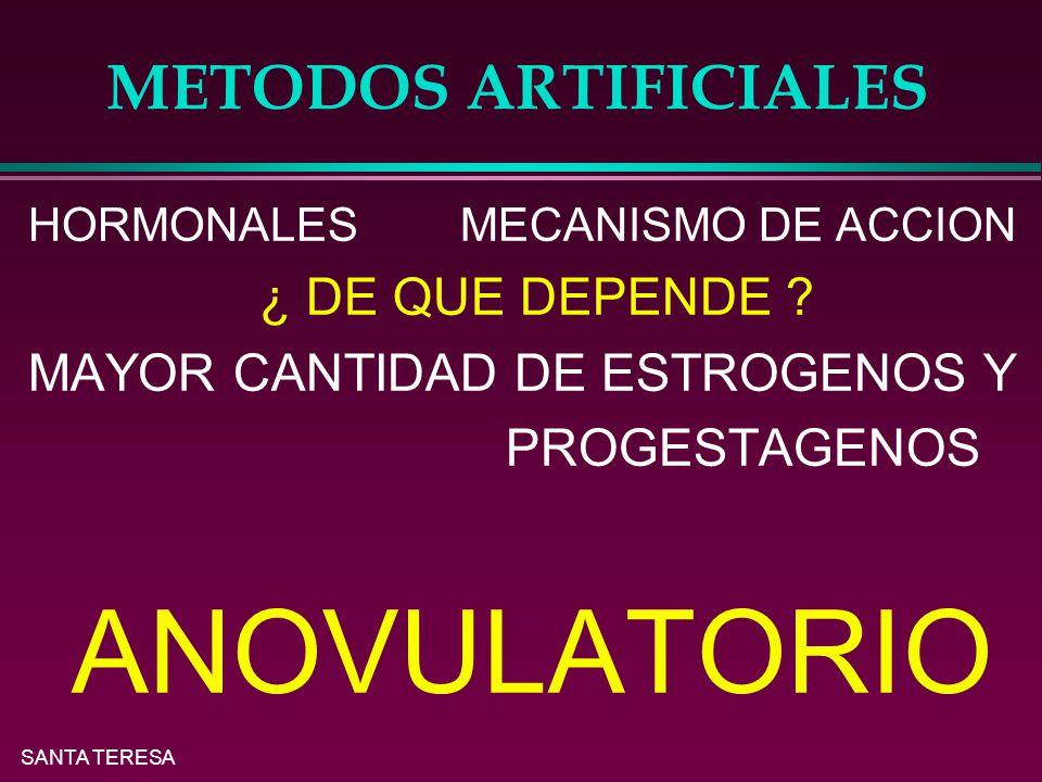 METODOS ARTIFICIALES MAYOR CANTIDAD DE ESTROGENOS Y PROGESTAGENOS