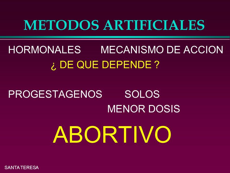 ABORTIVO METODOS ARTIFICIALES HORMONALES MECANISMO DE ACCION
