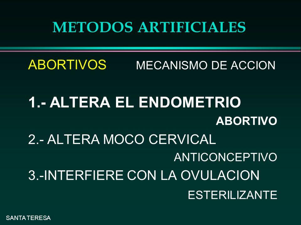 METODOS ARTIFICIALES 1.- ALTERA EL ENDOMETRIO