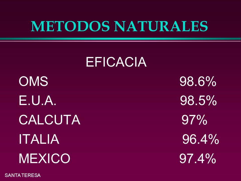METODOS NATURALES EFICACIA OMS 98.6% E.U.A. 98.5% CALCUTA 97%
