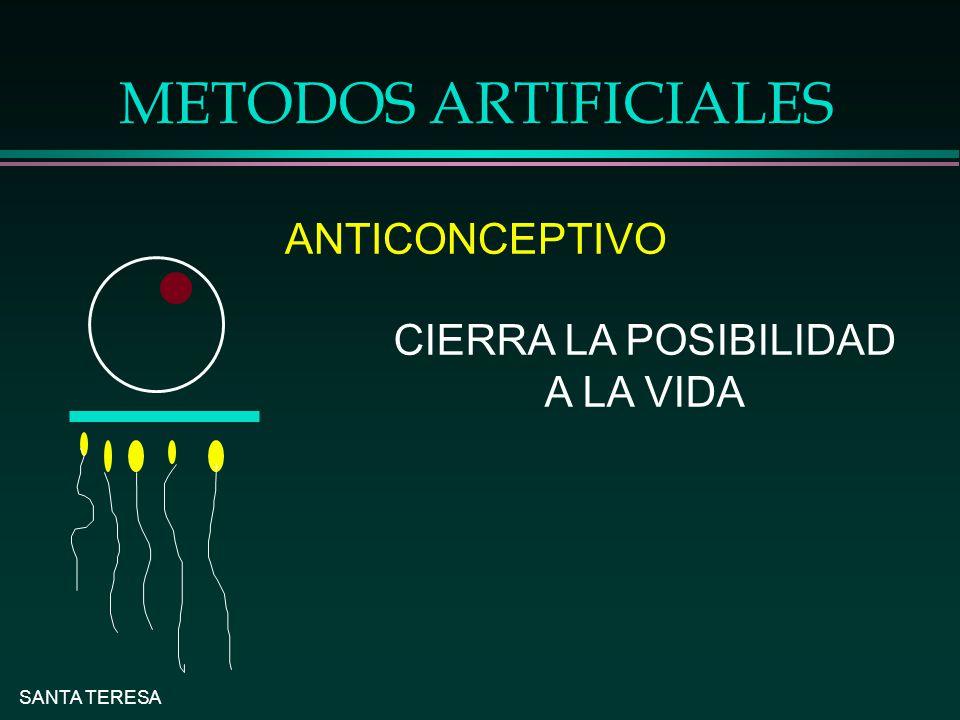 METODOS ARTIFICIALES ANTICONCEPTIVO CIERRA LA POSIBILIDAD A LA VIDA