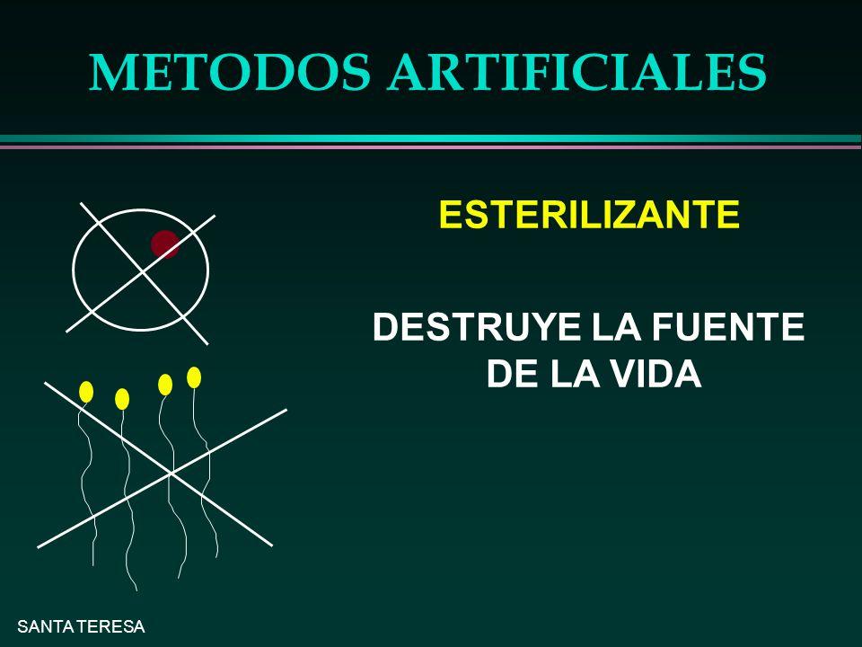 METODOS ARTIFICIALES ESTERILIZANTE DESTRUYE LA FUENTE DE LA VIDA