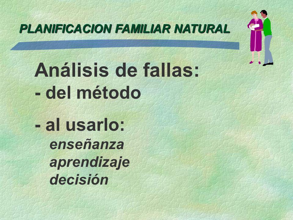 Análisis de fallas: - del método - al usarlo: enseñanza aprendizaje