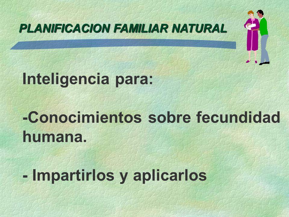 Inteligencia para: -Conocimientos sobre fecundidad humana. - Impartirlos y aplicarlos