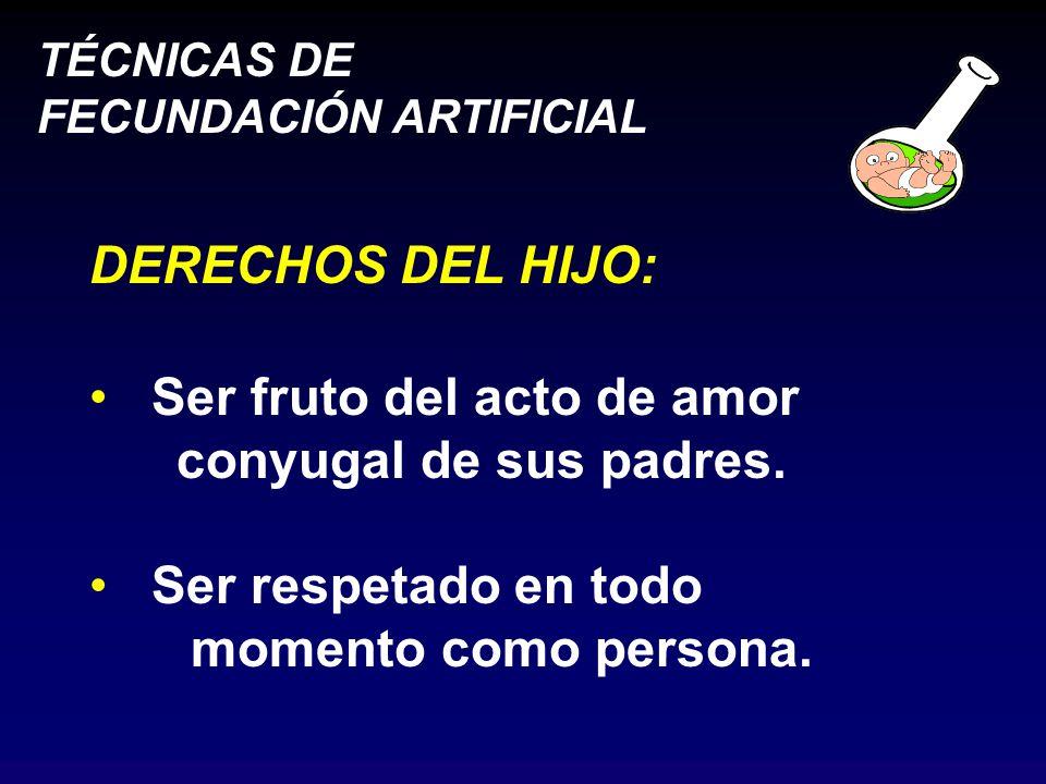 DERECHOS DEL HIJO: Ser fruto del acto de amor. conyugal de sus padres.