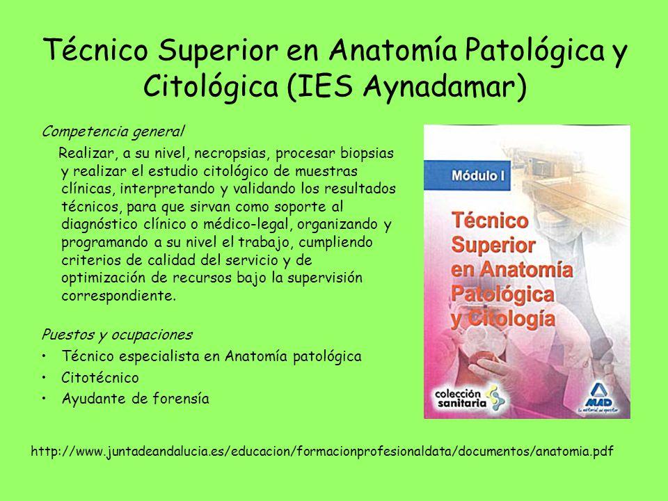 Técnico Superior en Anatomía Patológica y Citológica (IES Aynadamar)