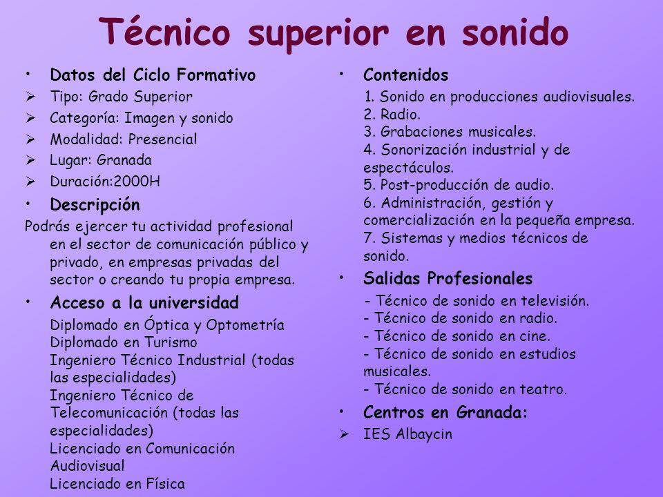 Técnico superior en sonido