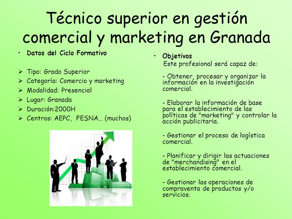 Técnico superior en gestión comercial y marketing en Granada