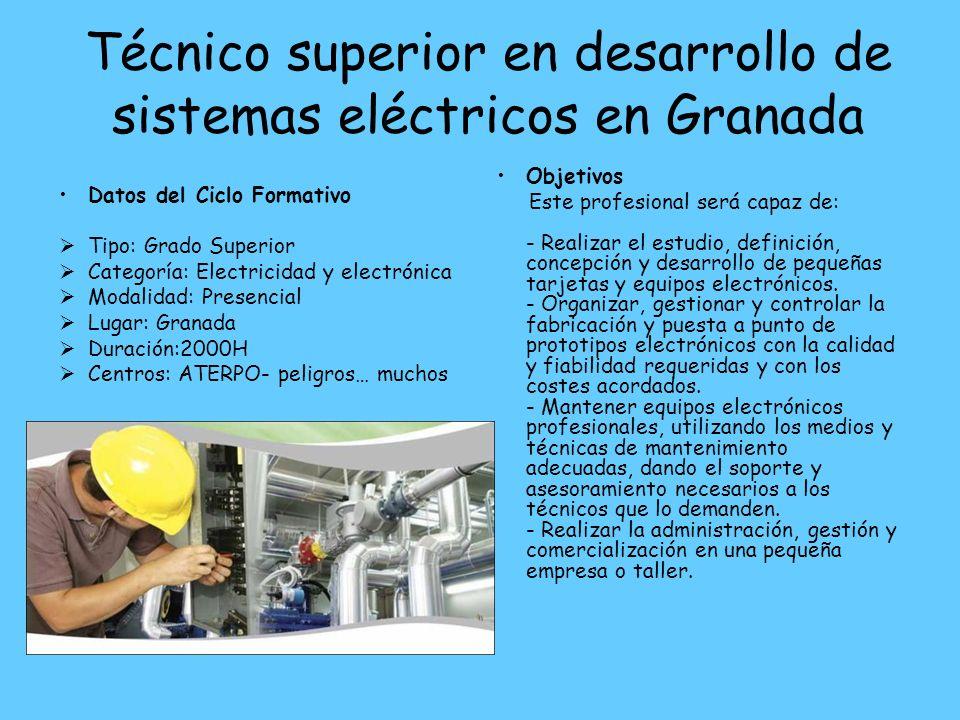 Técnico superior en desarrollo de sistemas eléctricos en Granada