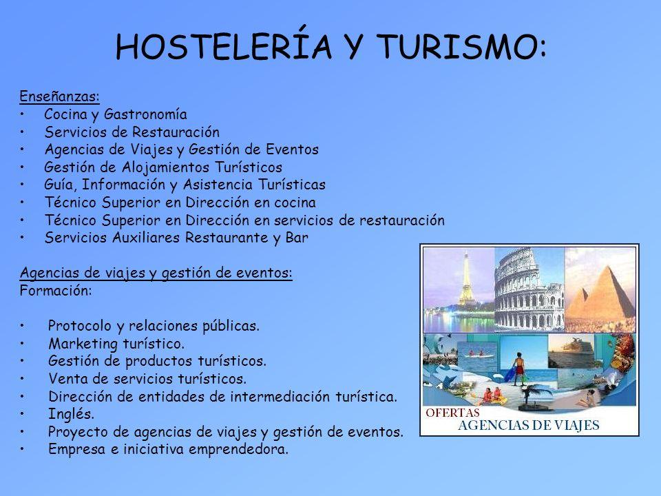 HOSTELERÍA Y TURISMO: Enseñanzas: Cocina y Gastronomía
