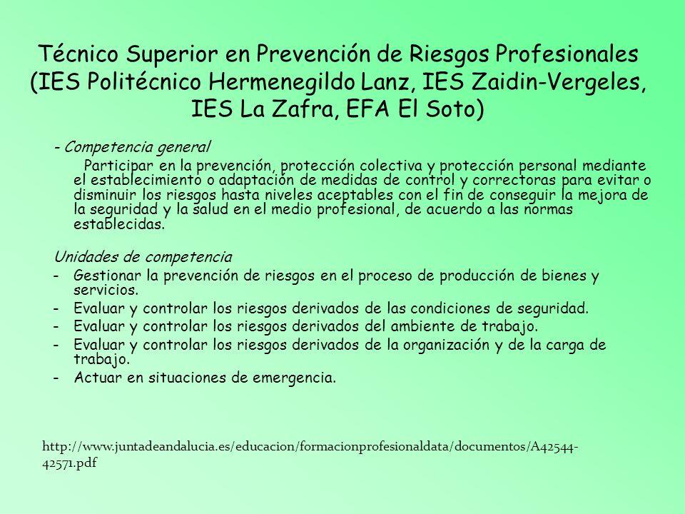 Técnico Superior en Prevención de Riesgos Profesionales (IES Politécnico Hermenegildo Lanz, IES Zaidin-Vergeles, IES La Zafra, EFA El Soto)