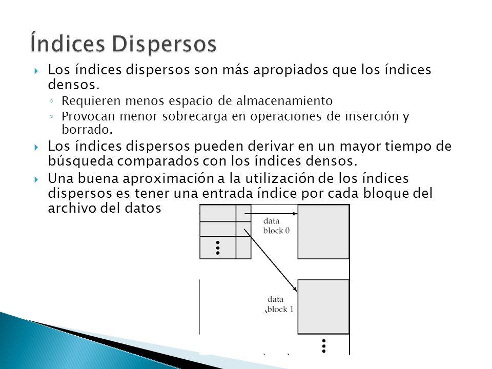 Índices Dispersos Los índices dispersos son más apropiados que los índices densos. Requieren menos espacio de almacenamiento.