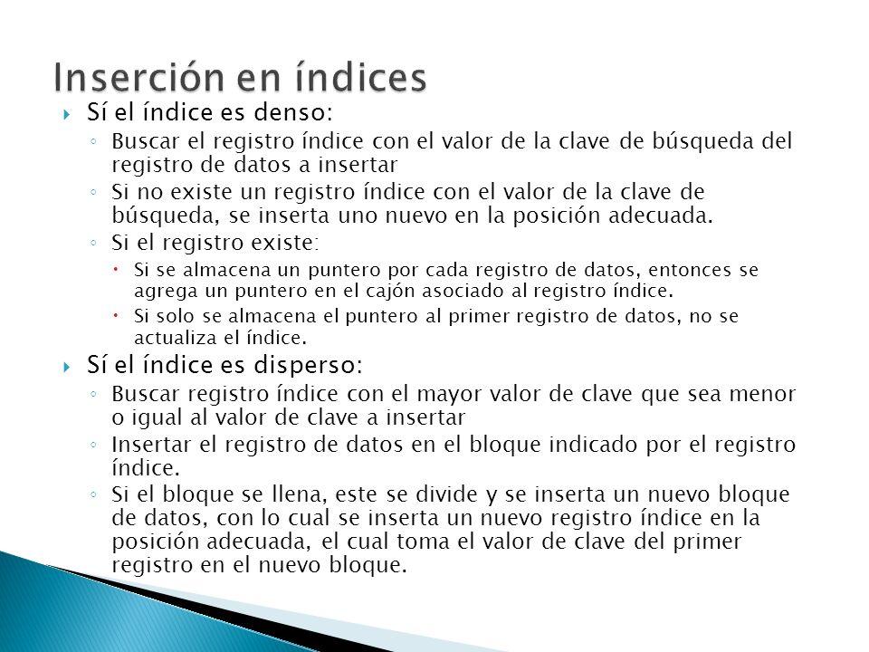 Inserción en índices Sí el índice es denso: Sí el índice es disperso: