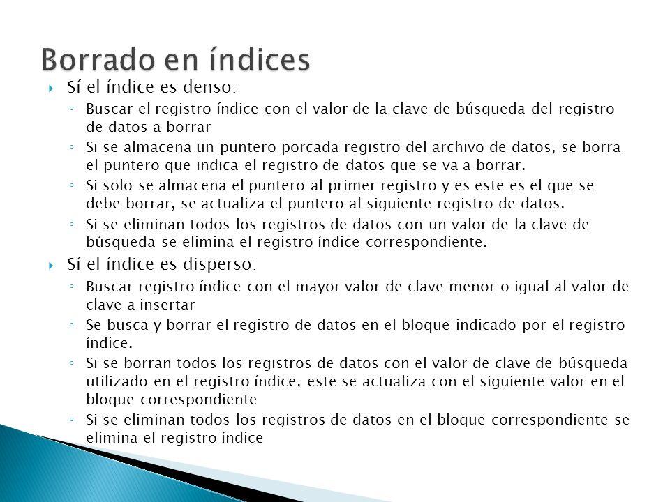 Borrado en índices Sí el índice es denso: Sí el índice es disperso: