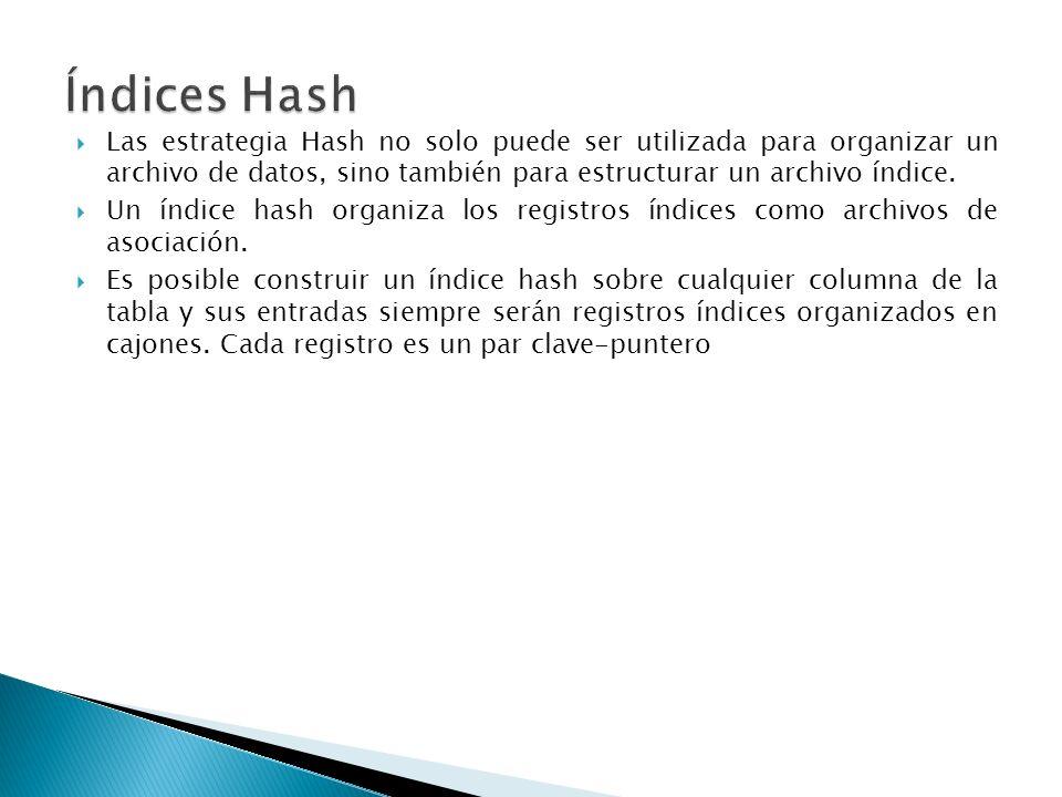 Índices HashLas estrategia Hash no solo puede ser utilizada para organizar un archivo de datos, sino también para estructurar un archivo índice.
