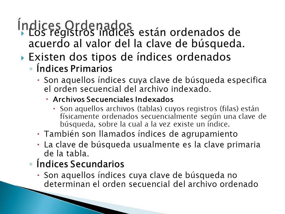 Índices OrdenadosLos registros índices están ordenados de acuerdo al valor del la clave de búsqueda.
