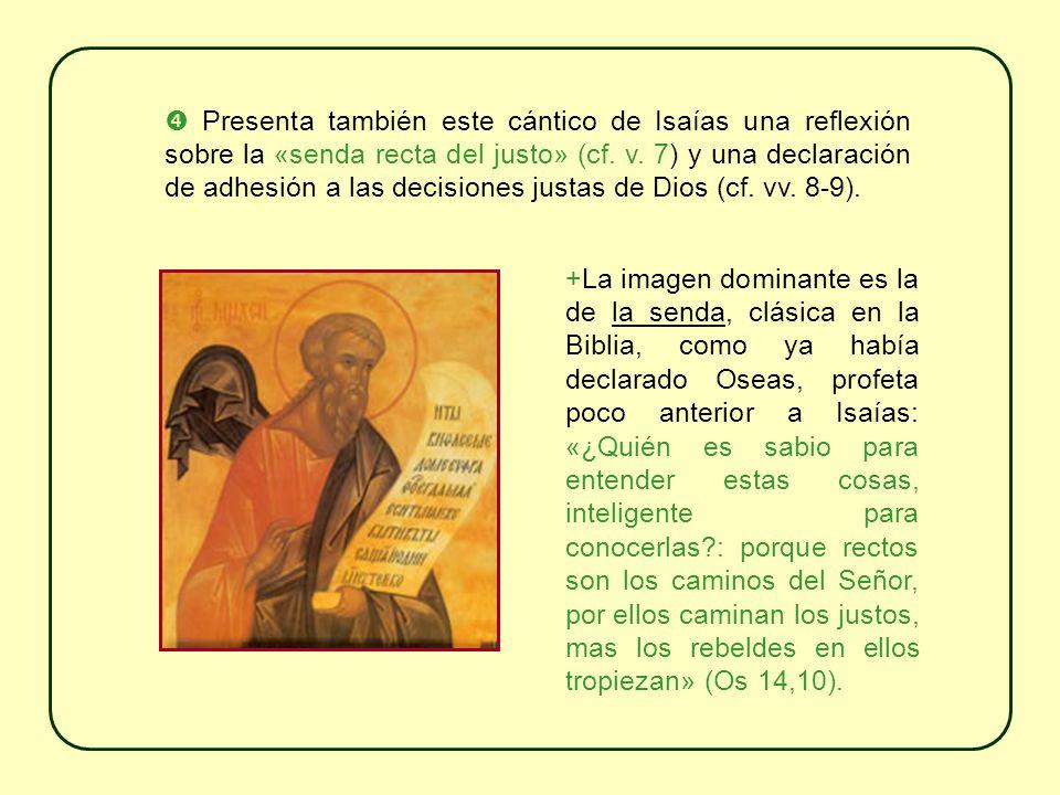  Presenta también este cántico de Isaías una reflexión sobre la «senda recta del justo» (cf. v. 7) y una declaración de adhesión a las decisiones justas de Dios (cf. vv. 8-9).