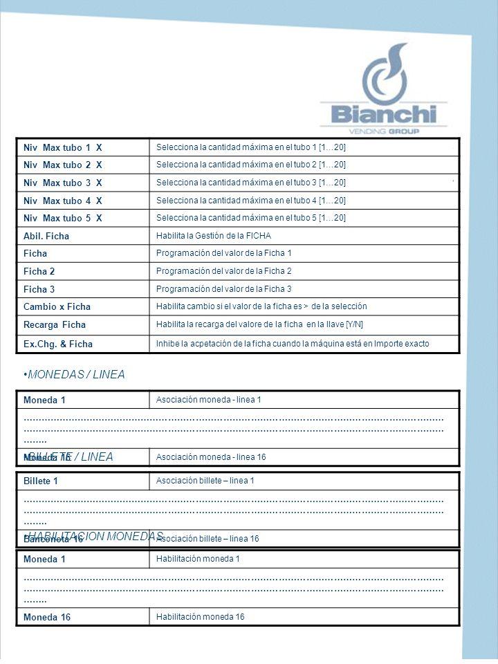 MONEDAS / LINEA BILLETE / LINEA HABILITACION MONEDAS Niv Max tubo 1 X