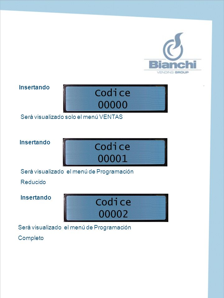 Codice 00000 Codice 00001 Codice 00002 Insertando