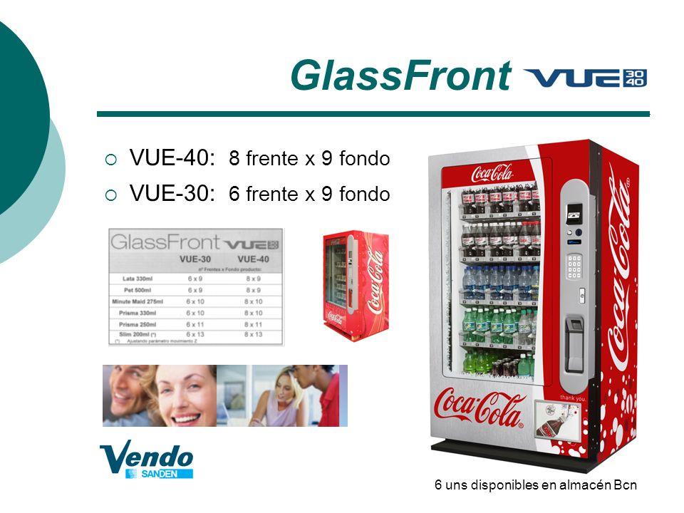 GlassFront VUE-40: 8 frente x 9 fondo VUE-30: 6 frente x 9 fondo
