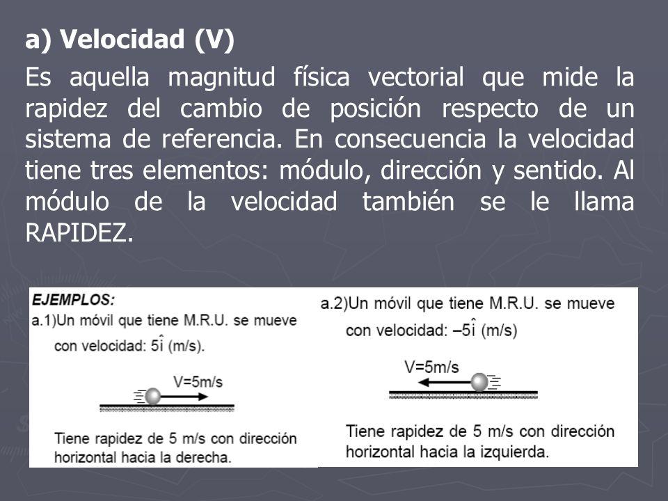 a) Velocidad (V)