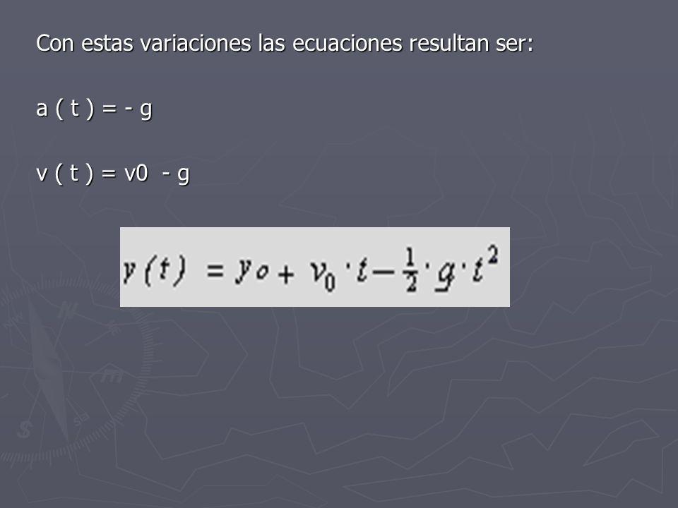 Con estas variaciones las ecuaciones resultan ser: