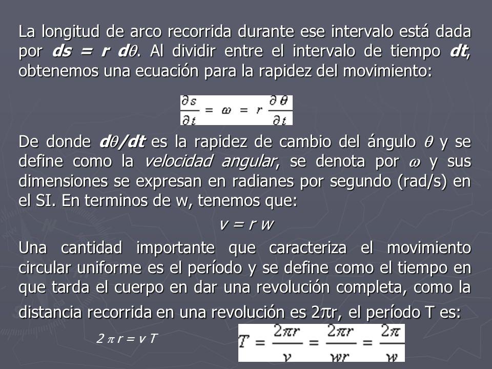 La longitud de arco recorrida durante ese intervalo está dada por ds = r d. Al dividir entre el intervalo de tiempo dt, obtenemos una ecuación para la rapidez del movimiento: