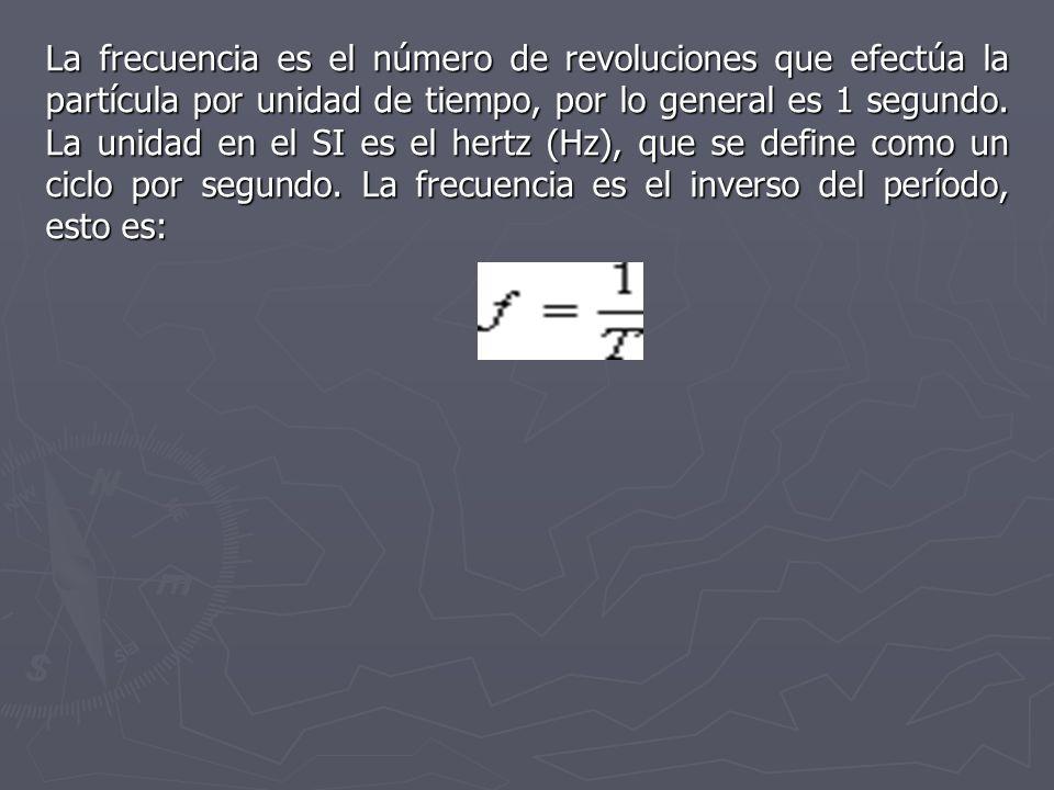 La frecuencia es el número de revoluciones que efectúa la partícula por unidad de tiempo, por lo general es 1 segundo.