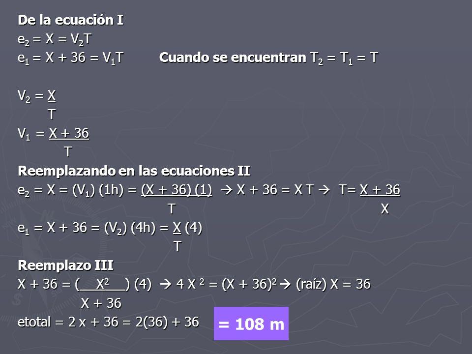 = 108 m De la ecuación I e2 = X = V2T