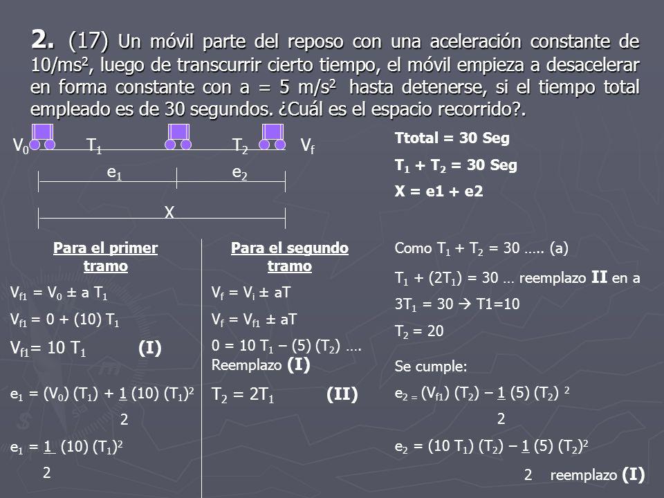 2. (17) Un móvil parte del reposo con una aceleración constante de 10/ms2, luego de transcurrir cierto tiempo, el móvil empieza a desacelerar en forma constante con a = 5 m/s2 hasta detenerse, si el tiempo total empleado es de 30 segundos. ¿Cuál es el espacio recorrido .