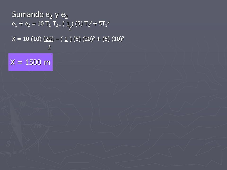 Sumando e2 y e2 2 X = 1500 m e1 + e2 = 10 T1 T2 – ( 1 ) (5) T22 + 5T12