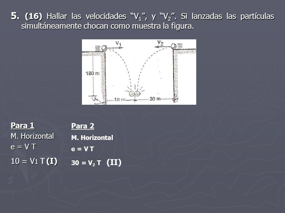 5. (16) Hallar las velocidades V1 , y V2