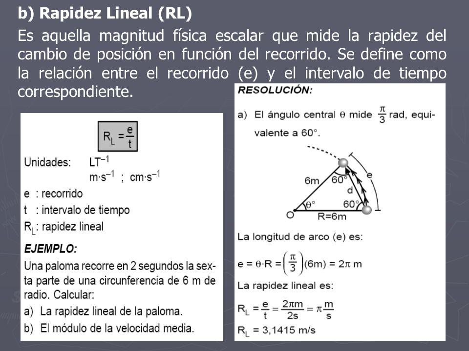 b) Rapidez Lineal (RL)