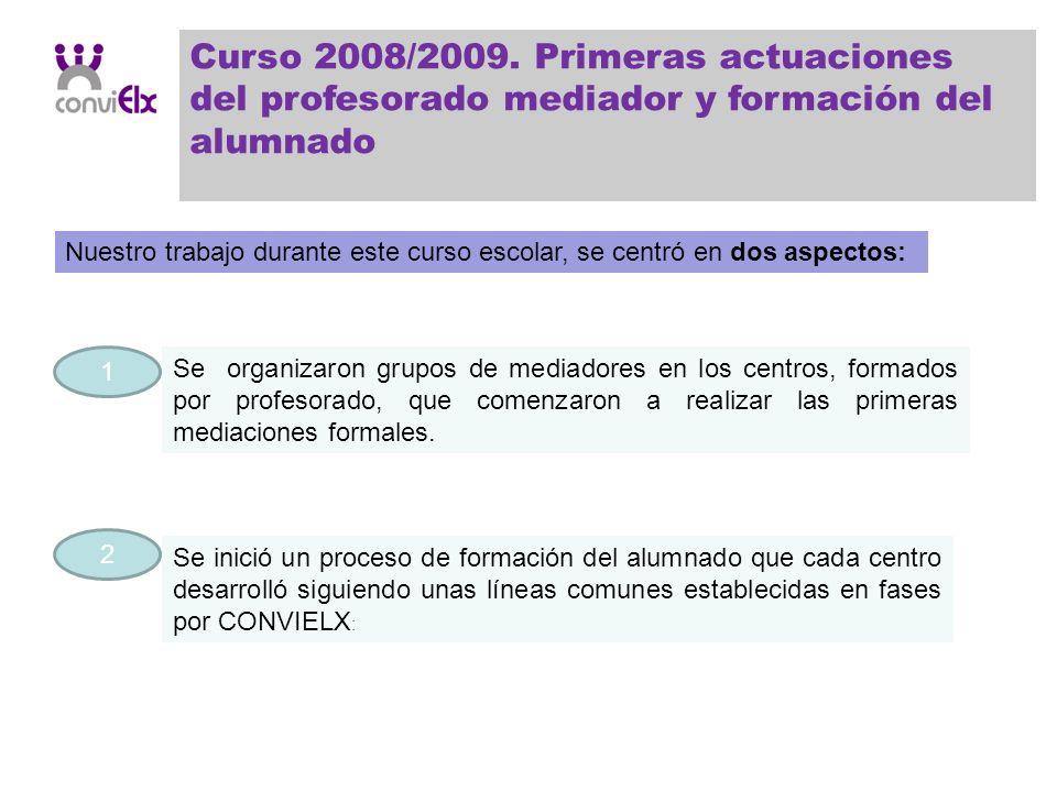 Curso 2008/2009. Primeras actuaciones del profesorado mediador y formación del alumnado