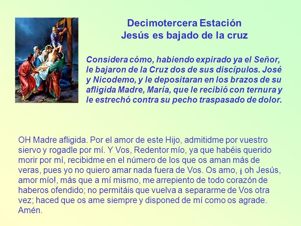 Decimotercera Estación Jesús es bajado de la cruz