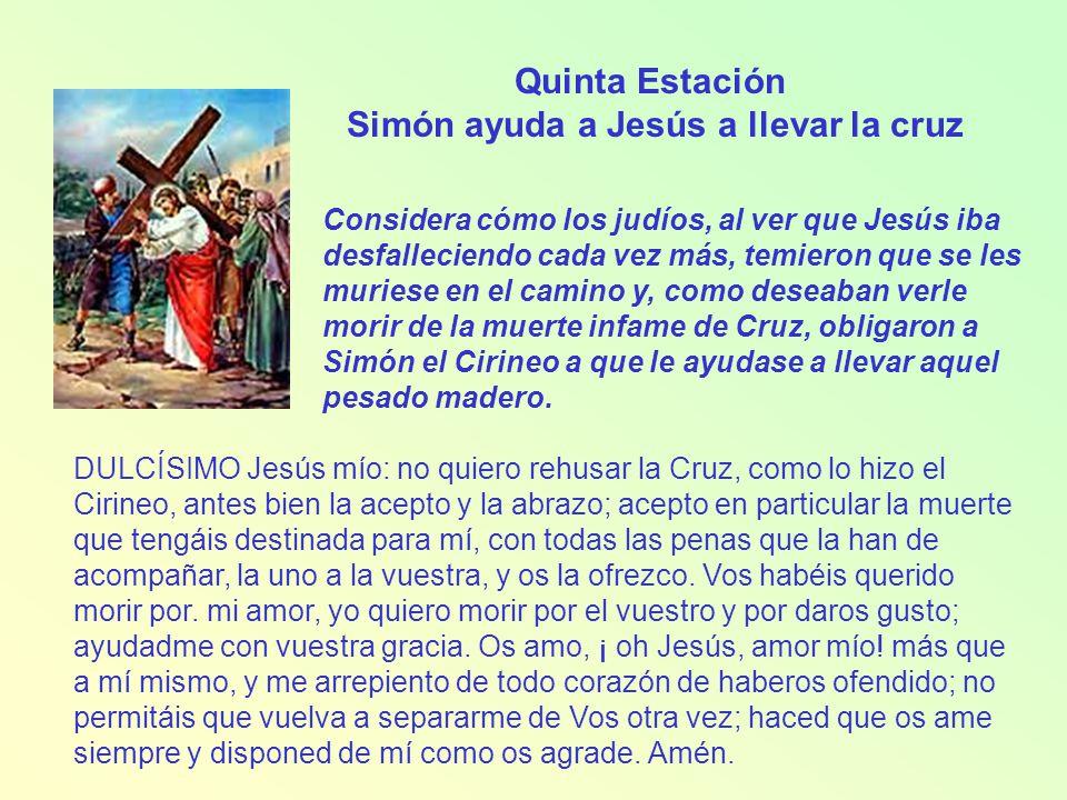 Simón ayuda a Jesús a llevar la cruz