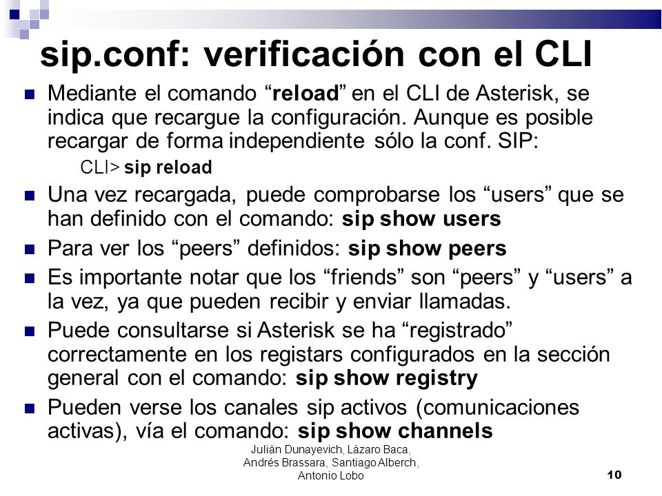 sip.conf: verificación con el CLI