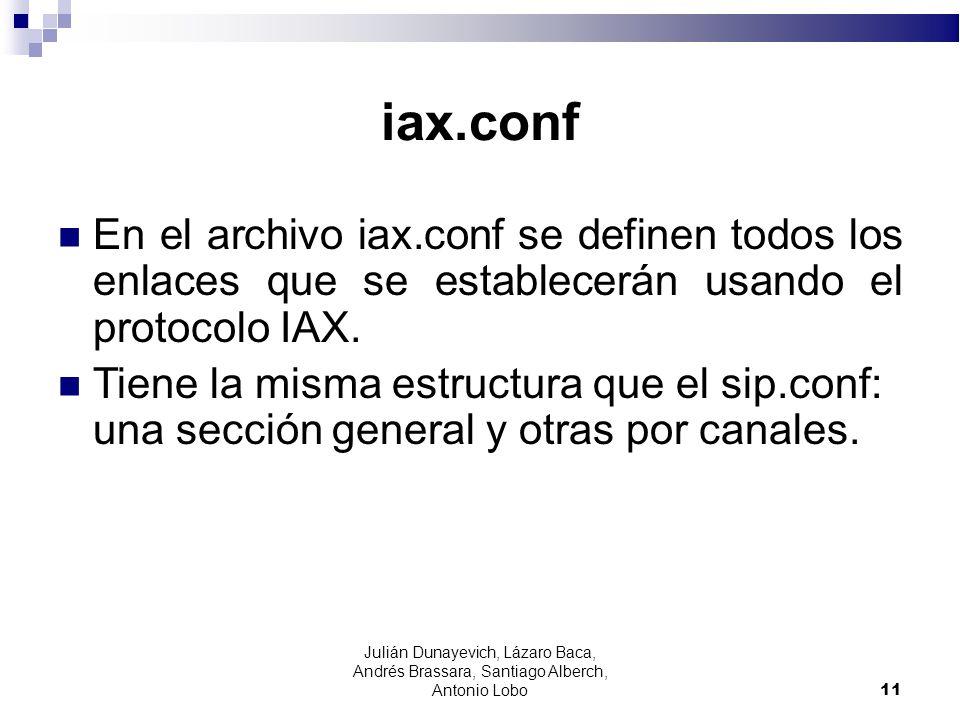 iax.conf En el archivo iax.conf se definen todos los enlaces que se establecerán usando el protocolo IAX.