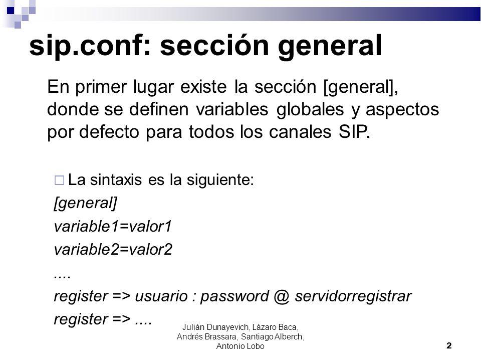 sip.conf: sección general