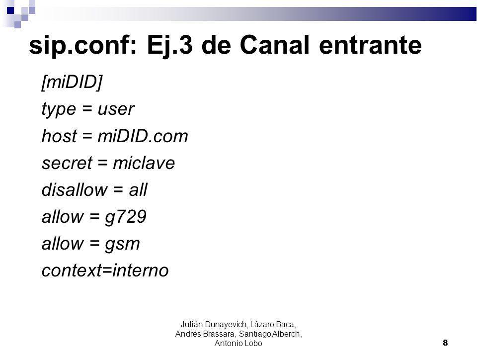 sip.conf: Ej.3 de Canal entrante