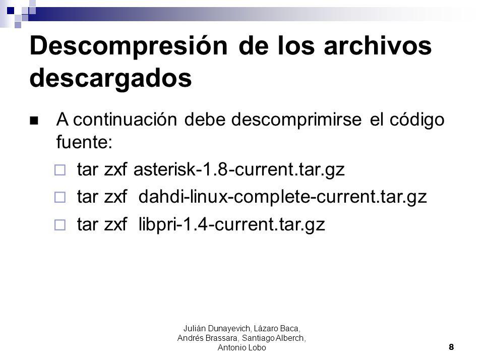 Descompresión de los archivos descargados
