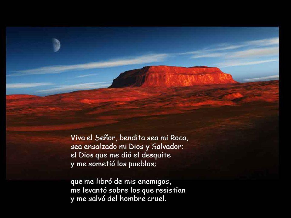 Viva el Señor, bendita sea mi Roca, sea ensalzado mi Dios y Salvador: el Dios que me dió el desquite y me sometió los pueblos;